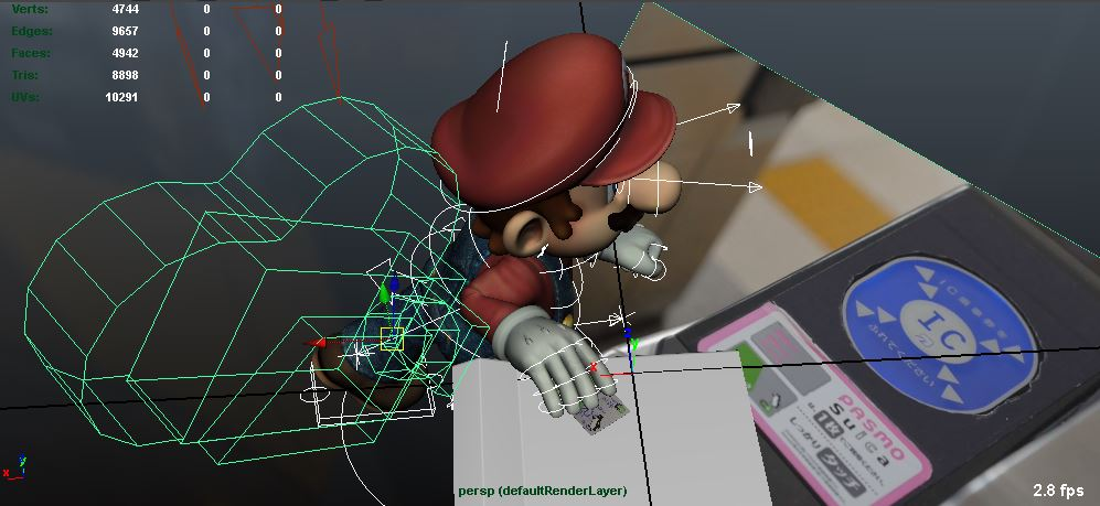 Mario swipes his Suica on the proxy 3D geometry.